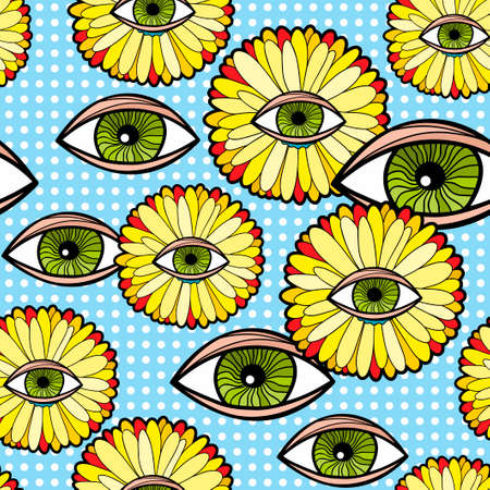 Seamless pattern with fantastic Transvaal daisy and human eyes.