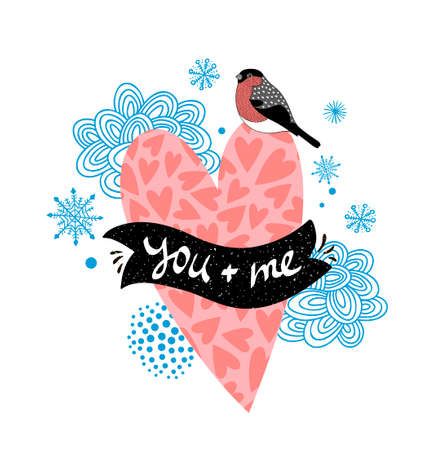 Romantic illustration with pink heart and winter bird. 向量圖像