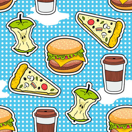 Pop art seamless pattern with fast food illustration. Illustration