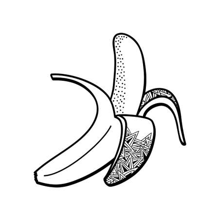Black and white banana illustration for coloring book.