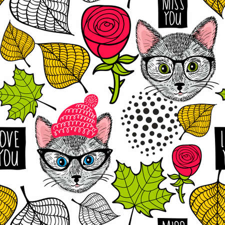 Seamless background with cute cats and roses.