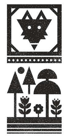 野生のキツネの顔を持つ黒と白のスカンジナビアプリント。 写真素材 - 94302707