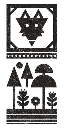 Black and white scandinavian print with wild fox face.