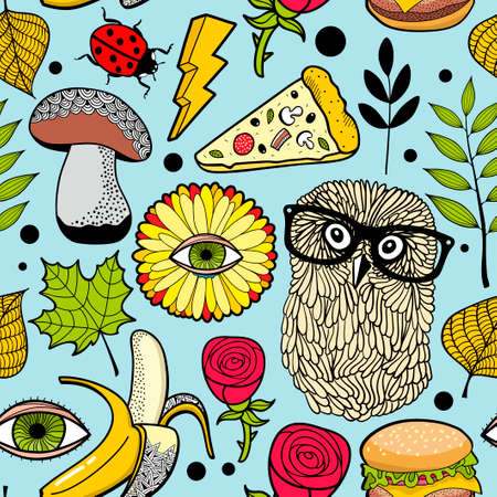 Colorful background with fast food and forest bird.