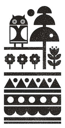 Black and white scandinavian print with night owl on the tree. Vector pattern in abstract style.