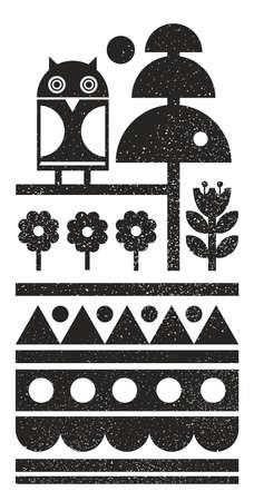 Zwart-witte Scandinavische print met nachtuil op de boom. Vector patroon in abstracte stijl. Stock Illustratie