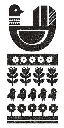 鳥と抽象的な黒と白のスカンジナビアプリント。  イラスト・ベクター素材