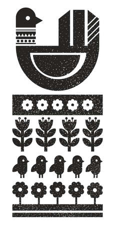Abstract Black and white Scandinavian print with bird.