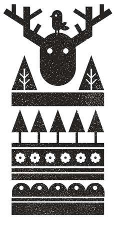 흑인과 백인 스칸디나비아 인쇄 조류와 야생 무스. 추상 스타일에서 벡터 패턴입니다. 스톡 콘텐츠 - 94299404