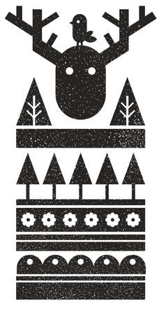 Black and white Scandinavian print with bird and wild moose. Vector pattern in abstract style.