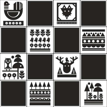 スカンジナビアスタイルのイラストで無限のパターン。無限の壁紙黒と白。  イラスト・ベクター素材