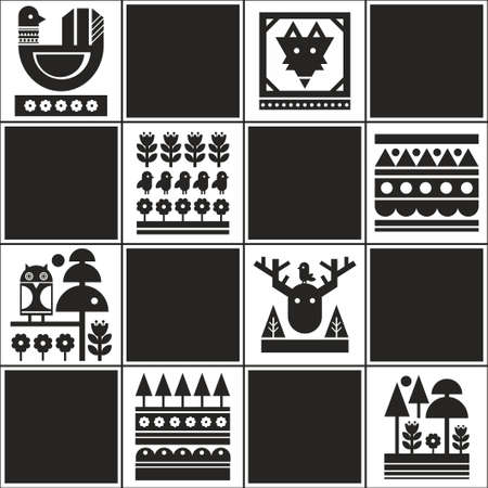 Endless pattern with Scandinavian style illustration. Endless wallpaper black and white. 向量圖像