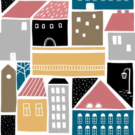 旧市街の建物とのシームレスなパターン。ベクトル壁紙。市街地のカラフルなイラスト。