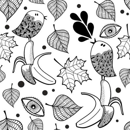 Black and white seamless pattern with doodle birds and bananas. Vector endless illustration for coloring book.