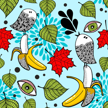 Colorful seamless pattern with doodle birds and bananas.