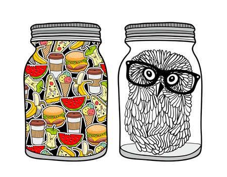 Satz Gläser mit Lebensmittel . Vektor-Illustration Vektorgrafik