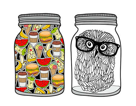 Set of jars with food. Vector illustration. Illustration