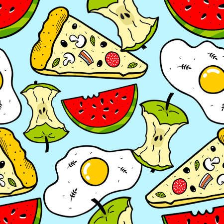 Bright seamless pattern with food and fruits. Vector endless wallpaper.
