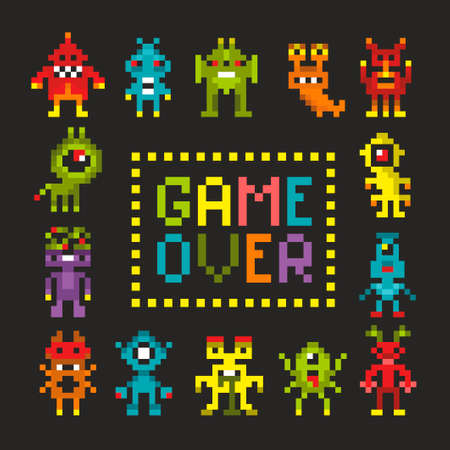 Cover print met pixel monsters.