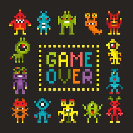 Impresión de portada con monstruos de píxeles.