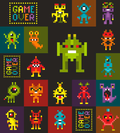 Endless wallpaper with pixel art, Retro style monsters from video game. Vectores