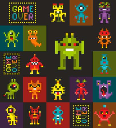 Fondo de pantalla sin fin con pixel art, monstruos de estilo retro del videojuego.