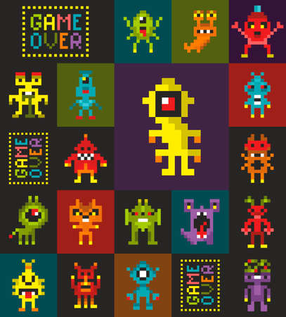 Seamless pattern with retro monsters from the computer game. Illustration
