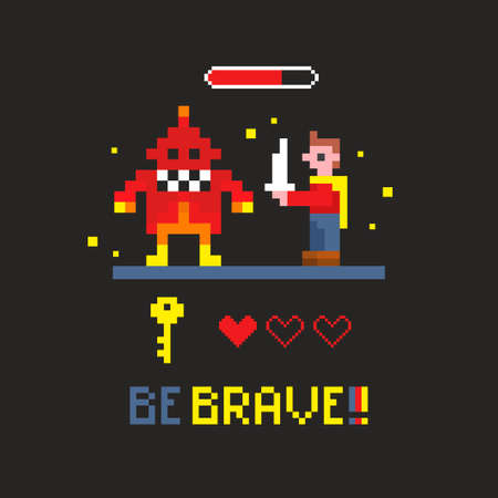 Fighting with space monster in the retro video game vector illustration with brave message. Illustration