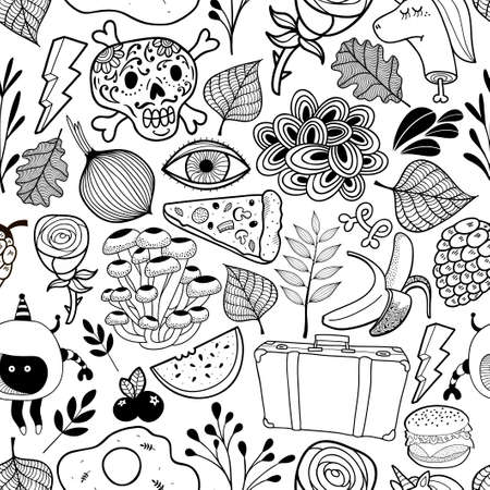 Seamless pattern with cartoon characters in black and white style. Vector wallpaper. Illustration