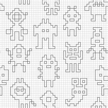 Seamless pattern with empty pixel robots. Vector wallpaper for creative coloring. Stock fotó