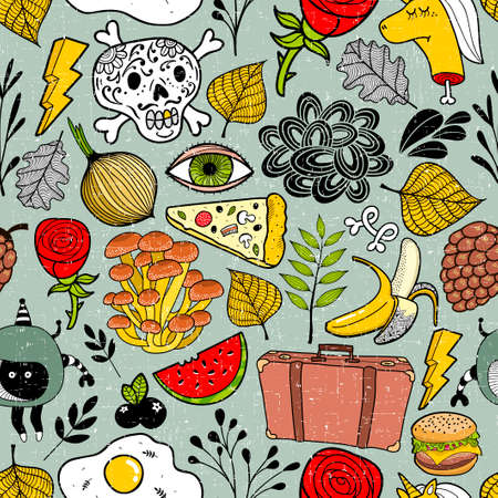 Colorful seamless pattern full of different objects and cartoon characters. Vector endless wallpaper of doodle creatures.