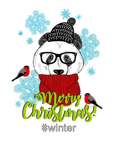 Zoete panda in sjaal en muts. Vector kaart voor Kerstmis.