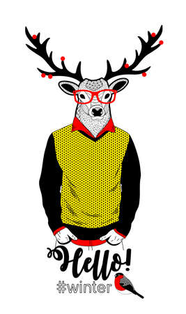 Colorful illustration of deer in retro clothes and berries on his horns Vector card cover print. Ilustração