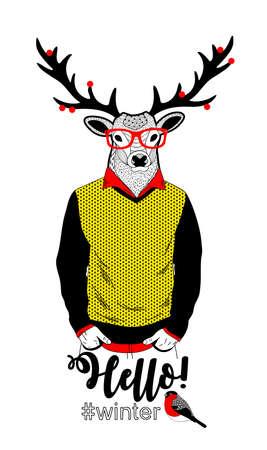 Illustration colorée de cerfs dans des vêtements rétro et des baies sur la carte vecteur de griffes de patte de patte Banque d'images - 98530824