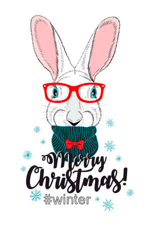Cute chrismas card with young rabbit. Vector animal illustration isolated on white background.