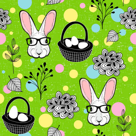 Easter rabbits and eggs. Seamless pattern in vector.