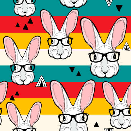 Seamless pattern with stripes and white rabbits in retro colors. Vector creative background. Иллюстрация