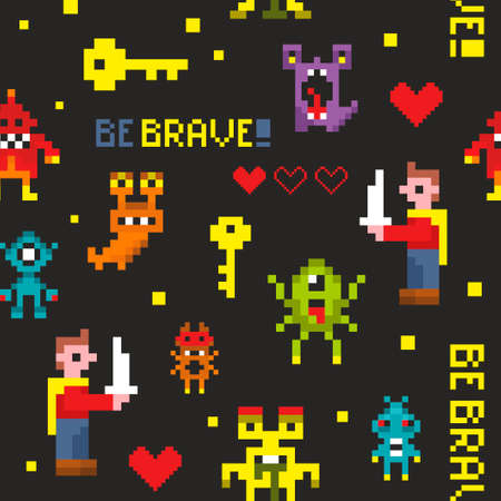 Creative seamless pattern with pixel monsters and brave knights. Vector illustration in pixel style. Ilustração