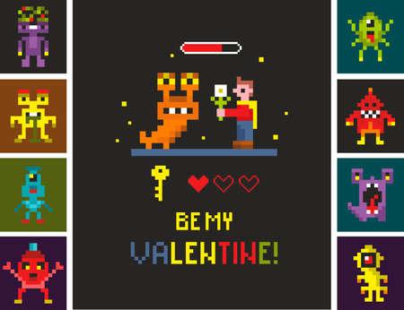 Set of pixel monsters. Romantic illustration with brave cartoon character. Vector illustration. Ilustração
