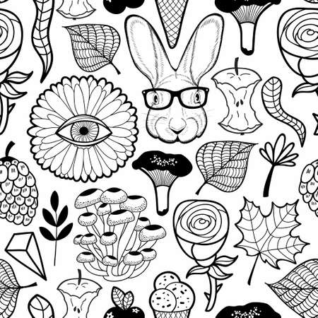 Seamless pattern with monster flower eye and hipster rabbit in glasses. Black and white illustration for coloring. Çizim