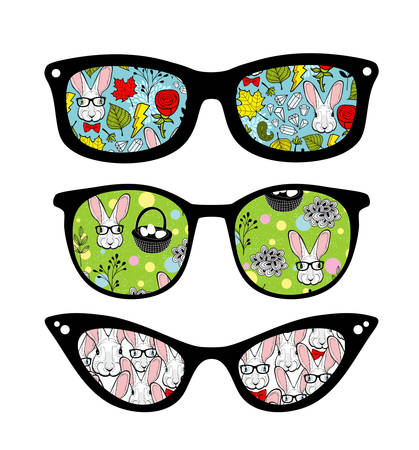 Creative set of retro sunglasses with pattern reflection. Vektorové ilustrace