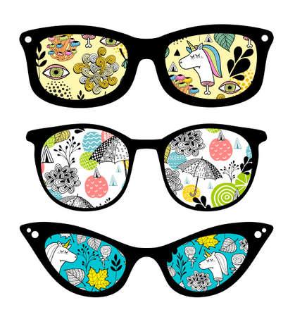 Creative set of retro sunglasses with pattern reflection. Ilustrace