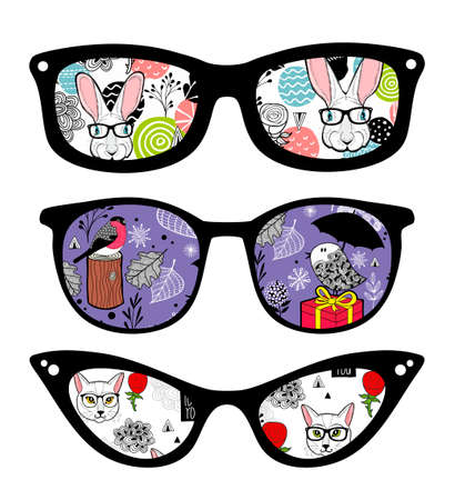 Creative set of retro sunglasses with pattern reflection. Ilustracja