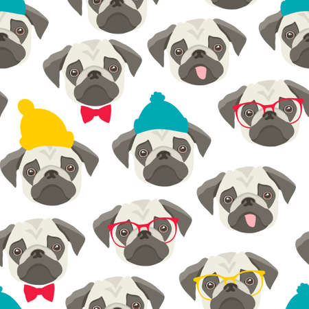 Endless pattern with pugs on white background.