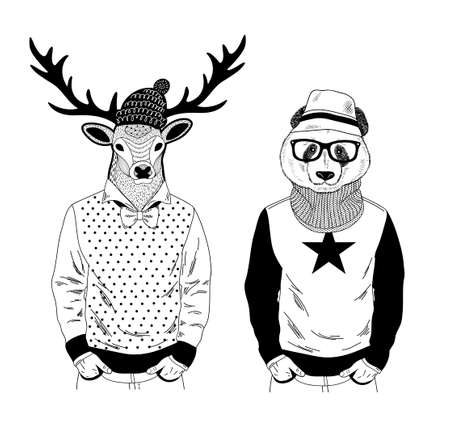 Nordic deer and Chinese bear panda friendly couple. Creative set of hand drawn animals with human body. Vector Illustration for coloring book.