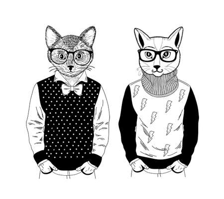 Two friendly cat pets in pose of fashion models. Creative set of hand drawn animals with human body. Vector Illustration for coloring book.