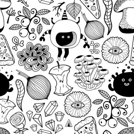 Black and white wallpaper for coloring. Illustration