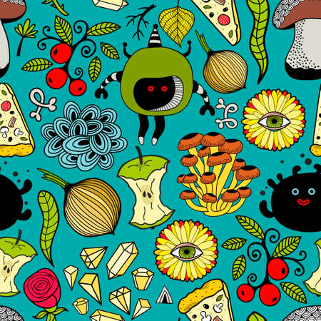 Seamless colorful pattern with monsters and food.