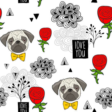 Romantic seamless pattern with cute pugs and red roses.