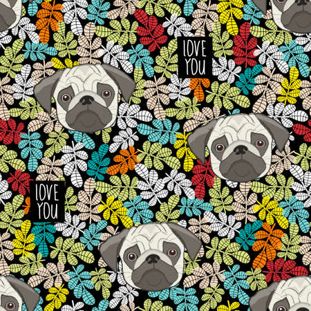 Colorful pattern with cute dog faces and love message.